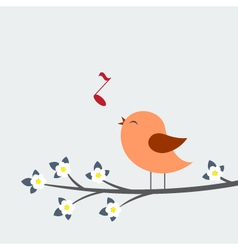 Cute bird sings vector