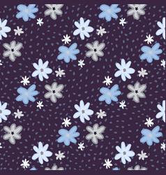daisy flowers silhouettes seamless pattern dark vector image
