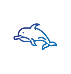dolphin animal marine life thick line blue vector image