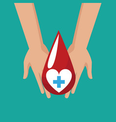 Donate blood hand hold drop cross vector