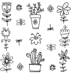 Doodle of spring flower black white vector