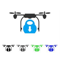 Drone drop cargo flat icon vector