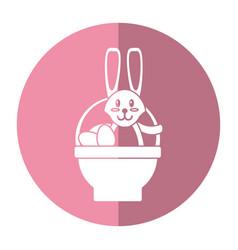 easter rabbit inside egg basket shadow vector image