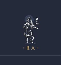 egyptian god ra keeps ankh emblem vector image