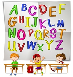 English alphabets and children in class vector