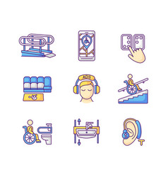 Facilities for people with disabilities rgb color vector