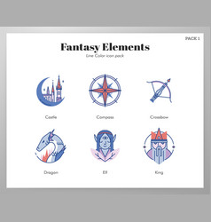 Fantasy icons linecolor pack vector