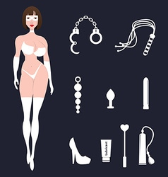 Fetish BDSM sexy woman in lingerie with sex toys vector