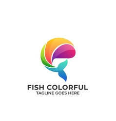 fish colorful design concept template vector image
