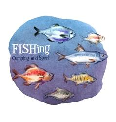 fishing logo design template fresh fish or vector image