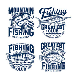 fishing sport t-shirt prints set emblems vector image