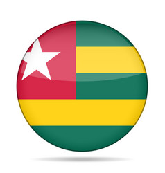 Flag of togo shiny round button vector