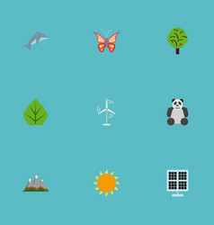 flat icons sun power landscape bear vector image