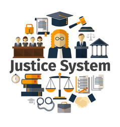 flat judicial system round concept vector image