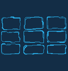 Futuristic techology set frames square virtual vector