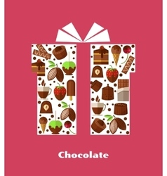 Gift card template with sweets chocolate and vector