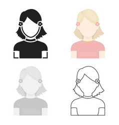 Girl icon cartoon single avatarpeaople icon from vector