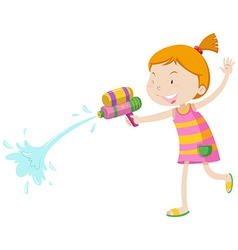 Girl playing with water gun vector