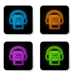 Glowing neon audio book icon isolated on white vector