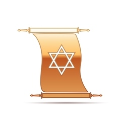 Gold star of david on scroll icon for white vector