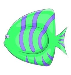 Green striped fish icon cartoon style vector