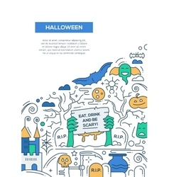 Halloween - line design brochure poster template vector