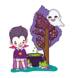 Happy boy with vampire costume and ghost vector