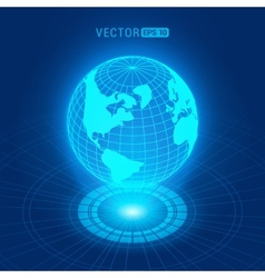 Holographic globe with continents vector image