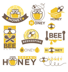 Honey beekeeping product icons templates vector