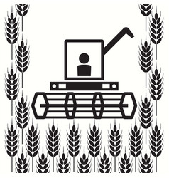 Icon combine harvester and wheat ears vector