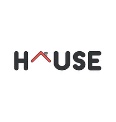Icon concept house word with house roof vector