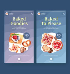 instagram template with bakery design for online vector image