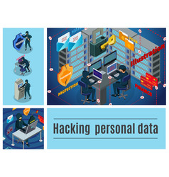 isometric hacker activity colorful composition vector image
