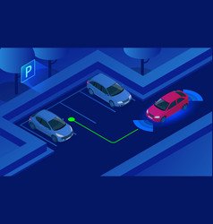 isometric parking assist system vector image
