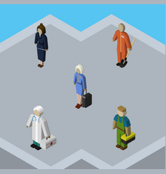 Isometric person set of businesswoman cleaner vector