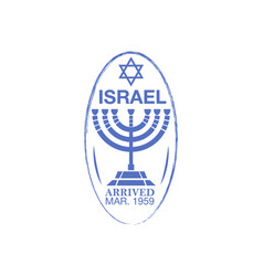 Israel arrival ink stamp on passport vector