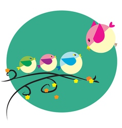 little bird family vector image