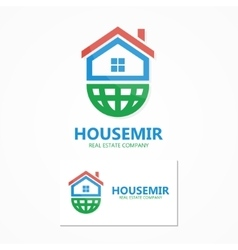 logo home with earth vector image