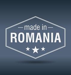 Made in Romania hexagonal white vintage label vector