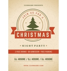 Merry Christmas party poster retro typography and vector