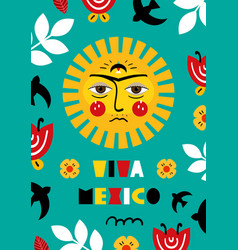 Mexican invitation card in flat style vector