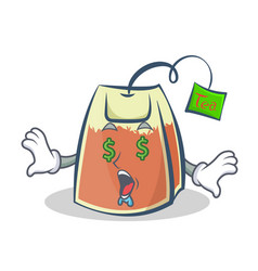 Money eye tea bag character cartoon art vector