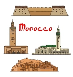 Morocco historic landmarks and sightseeings vector image