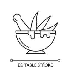 Mortar with pestle pixel perfect linear icon vector