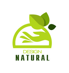 natural design eco premium quality green label vector image