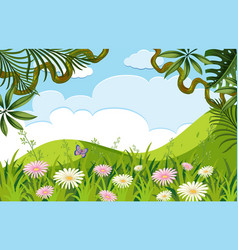 Nature scene with flowers on the hills vector