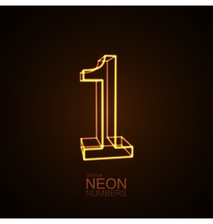 Neon 3D number 1 vector