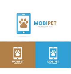 paw and phone logo combination pet and vector image