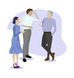 People colleague gossip and speaking coffee break vector