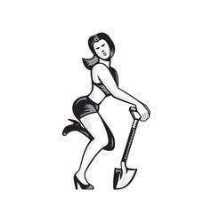 Pin-up girl with shovel spade retro vector